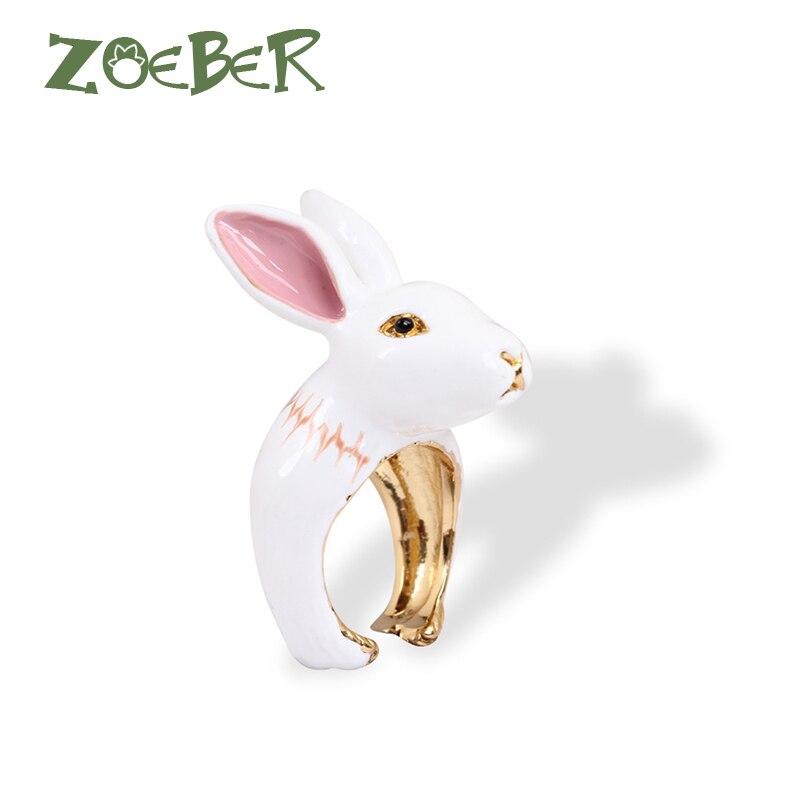Zoeber Animal Wedding Rings 3D Enamel Glaze Rabbit Bunny Rings Women Funny Lady Adjustable Animal Ring Jewelry Gift RJ2102 невидимка для волос funny bunny розовые цветы 2 шт