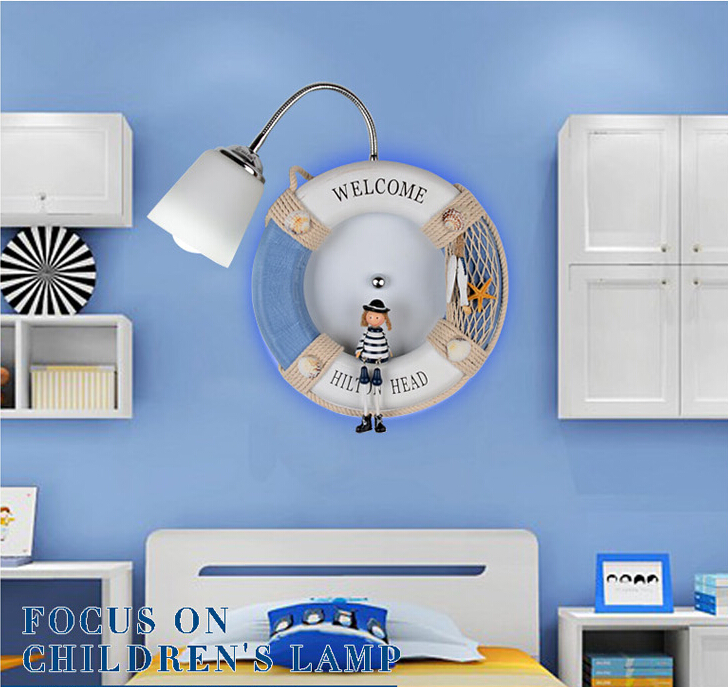New Arrival Creative Blue Rubber Children Room Lighting Wall Lamp Bedroom Wall Lamp Cartoon Children's Wall Lamp Lighting m best price children love cartoon wall lamp room card 3d creative wall lamp bedside lamp 0 5kg pvc stickers easy to install