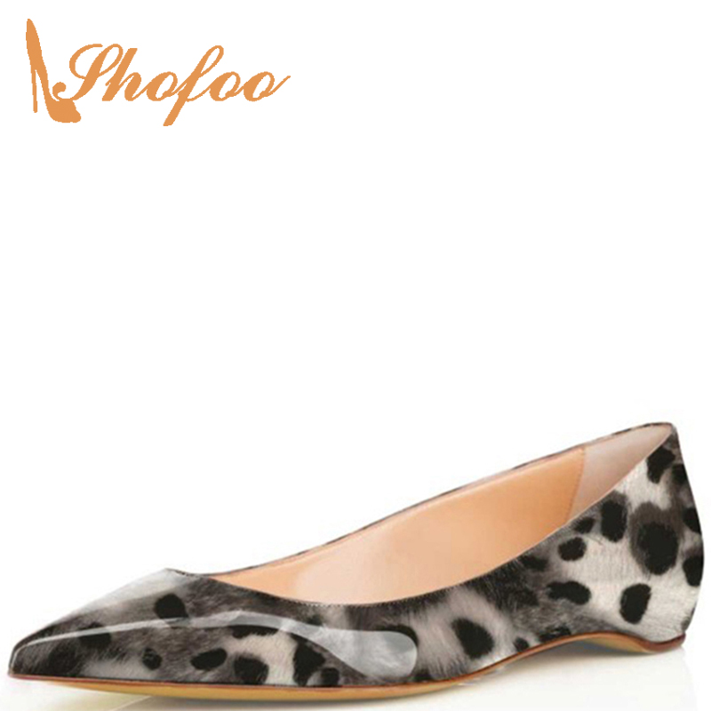 Gray Leopard Pattern Flat Woman Pointed Toe Vegan Leather Female Ladies Casual Shoes Footwear Large Size 33 34 39 Sweet Fashion