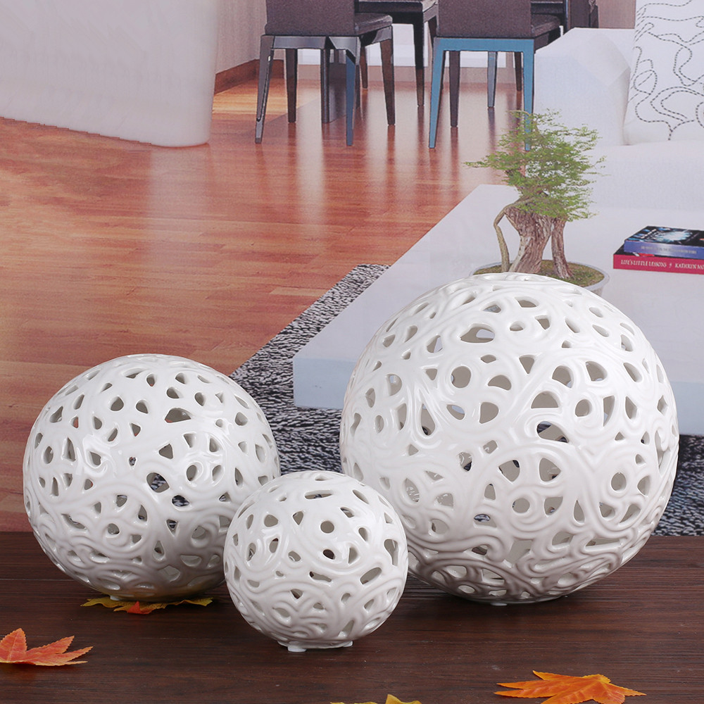 Creative Hollow White Ceramic Sepak Takraw Ornaments Wedding Gifts
