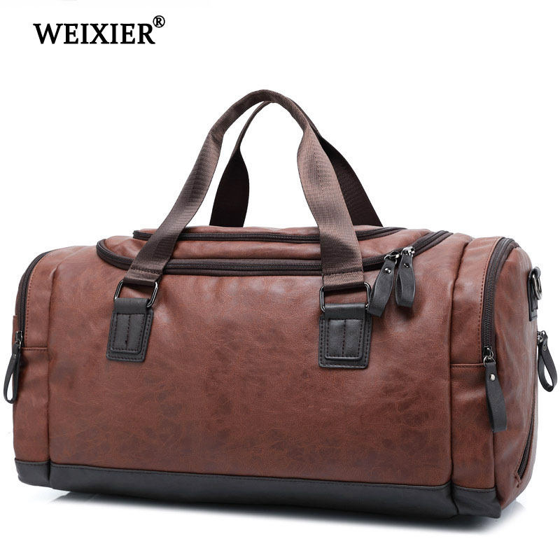 WEIXIER Brand 2019 Multifunctional Casual Bag New Women Hand bag PU Leather Large Capacity Men Fashion Hand Luggage Travel Bag
