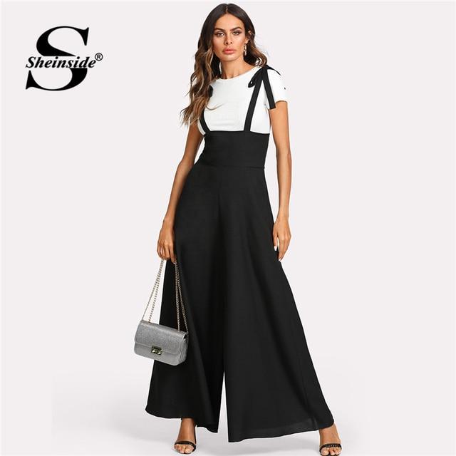 a53ce9995b673 Sheinside Black Straps Office Ladies Workwear Elegant Wide Leg Jumpsuit  High Waist Plain Knot Loose Women Autumn Jumpsuit