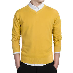 Men Sweaters Pullover Slim-Fit V-Neck Knitted Autumn Casual Plus-Size Fashion Cotton