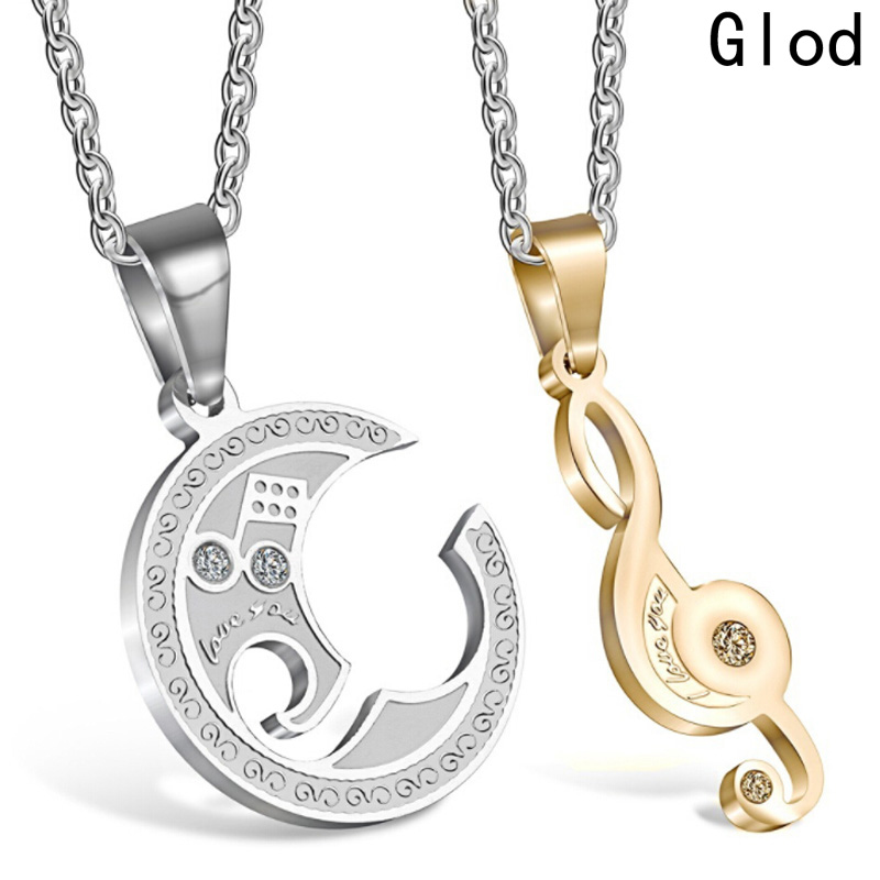 New Music Symbol Necklaces&Pendants Set Wedding Jewelry Silver Color Couple Necklace Bes ...