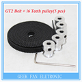 5pcs 16teeth GT2 Timing Pulley and 5M GT2-6mm GT2 Timing Belt for 3D printer with 10 x M3 Setscrews,Allen Key