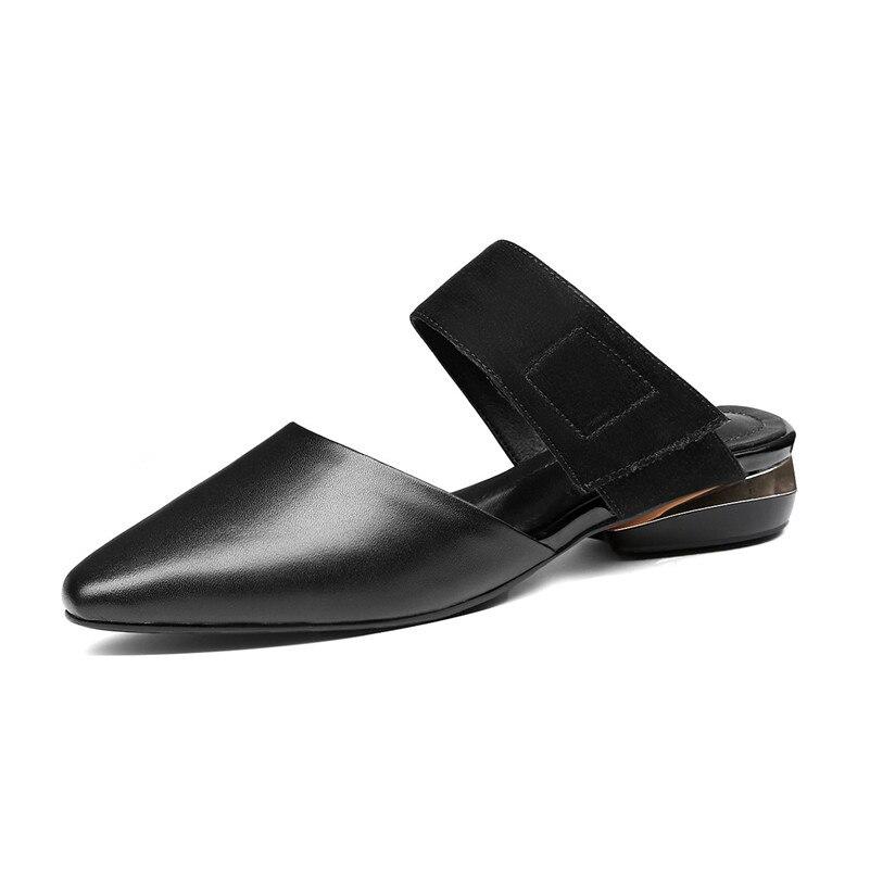 FEDONAS elegantes mujeres Casual zapatos de cuero genuino fiesta primavera verano Zapatos Mujer básico sólido tacones cuadrados tacones altos-in Zapatos de tacón de mujer from zapatos    3