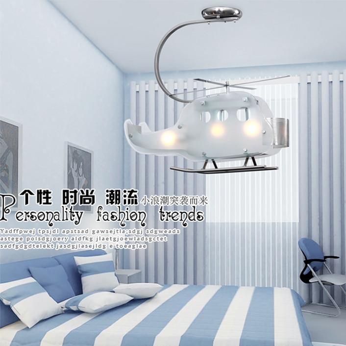 Modern Child Bedroom Helicopter Pendant Light Glass Bedroom Hanging Lighting