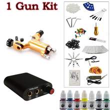 Solong Tattoo Beginner 1 Dragonfly  Rotary Tattoo Machine Gun Kit Power Supply Foot Pedal Needles Grip Tip Ink free shipping