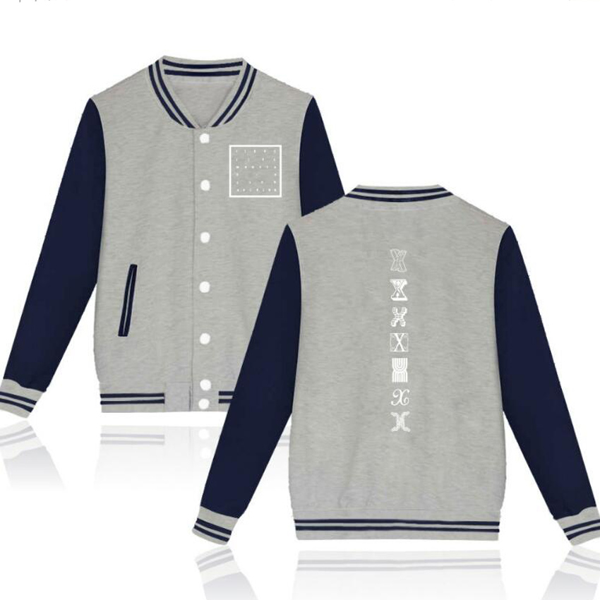Monsta X Hoodies Women Men Harajuku Sweatshirt Kpop Hoody Zip-Up Baseball Uniform Jacket Fall Winter Tracksuit Moletom Feminino