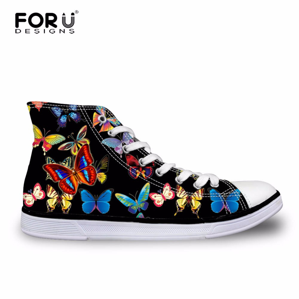 FORUDESIGNS Նորաձև կանացի բարձր սև կտավ կոշիկների կոշիկ ապրանքանիշ Cute Butterfly Casual Lace-up shoes for Women Female Vulcanize Shoes