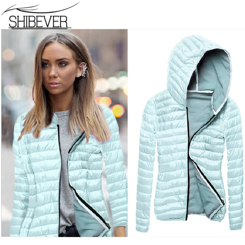 SHIBEVER Women   Jacket   Coat Light Cotton   Basic     Jackets   Hooded Zip Casual Short   Jacket   Autumn Veste Femme Spring Outerwear BJT599