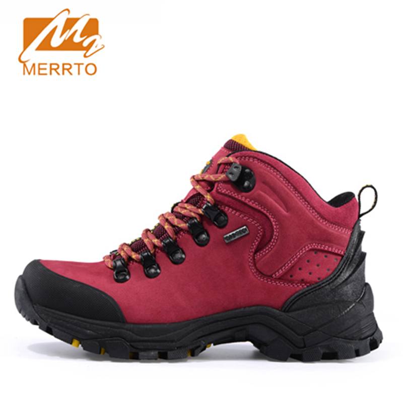 2017 Merrto Women Hiking Shoes Waterproof Outdoor Climbing Sports Shoes Full-grain leather For Female Free Shipping MT18639