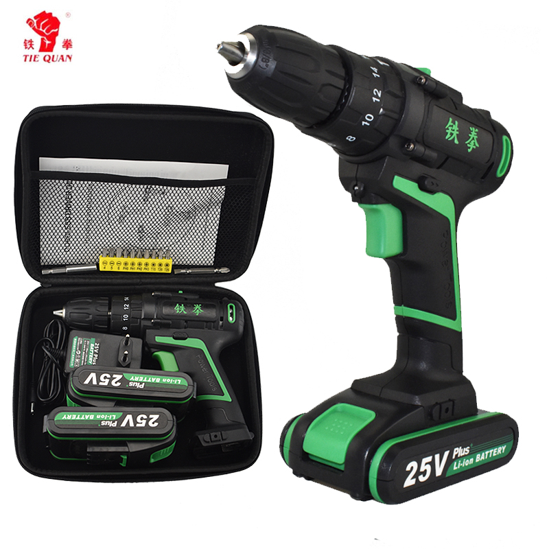 New Style 25V Impact Electric Screwdriver Home Diy Power Tools Woven Bag Hand Drill Battery Drill Electric Cordless Hammer Drill drill buddy cordless dust collector with laser level and bubble vial diy tool new