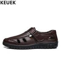 Summer Men Sandals Split Leather Cut Outs Breathable Dress shoes Hook & Loop Soft Comfortable Casual Men shoes Black Brown 01B