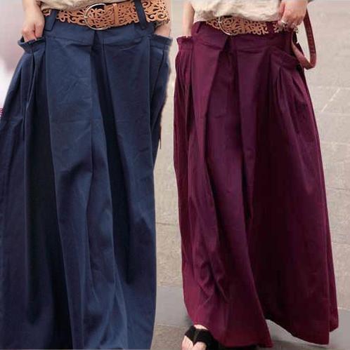 As mulheres saia longa de algodão de Linho saia Maxi Saias Bolsos soltos de Cintura Alta Saias Plissadas Casuais