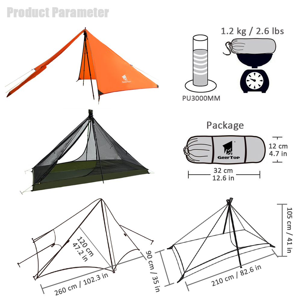 Image 5 - GeerTop Ultralight Camping Tent 1 Person 3 Season Portable  Compact Backpacking No Trekking Poles Tents Outdoor Hiking Road  TripTents