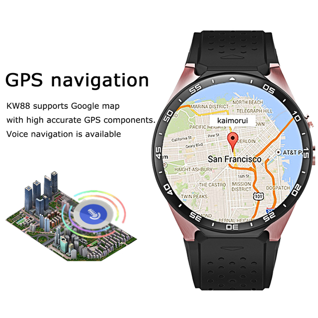 Kaimorui KW88 Smart Watch Android 5.1 IOS 1.39″ IPS OLED Screen 512MB+4GB Smartwatch Support SIM Card GPS WiFi Call Reminder