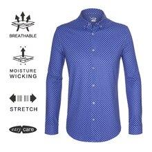 EAGEGOF Мужская классическая мужская рубашка с длинным рукавом, тренировочный костюм для гольфа, нежелезные рубашки с воротником