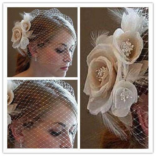 Wedding Birdcage Veils Champagne Ivory White Flowers Feather Bridal Wedding Hair Pieces Bridal Accessories 2016 in Stock