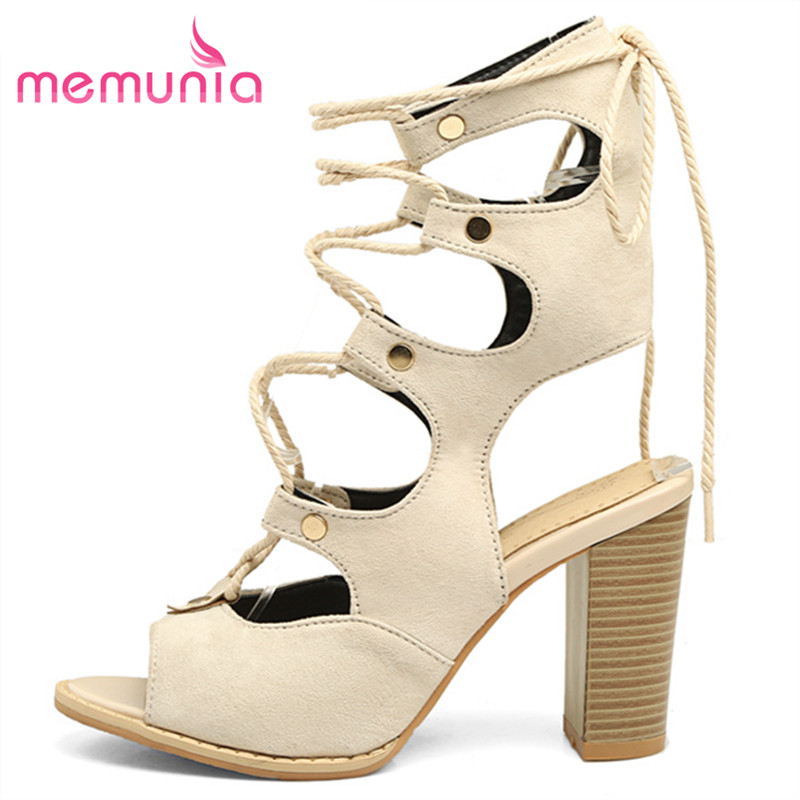MEMUNIA big size 34-48 high heels sandals women fashion High help lace up summer shoes classic thick heels unique ladies shoes