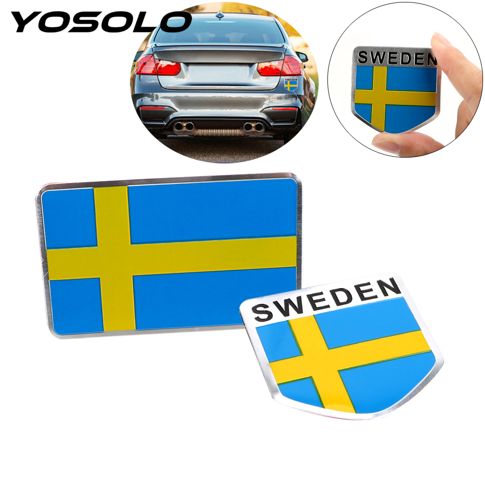YOSOLO Sweden Flag Car Sticker Car -Styling Emblem Decal Badge For The Car Whole Body Aluminum Scratch Cover Sticker