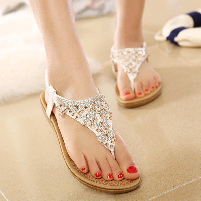 <font><b>Women</b></font> Sandals Fashion Summer <font><b>Women</b></font> <font><b>Shoes</b></font> Gladiator <font><b>Shoes</b></font> <font><b>Women</b></font> T-Strap <font><b>Flat</b></font> Sandals Flip Flops Ladies Slippers <font><b>Sapato</b></font> <font><b>Feminino</b></font> image