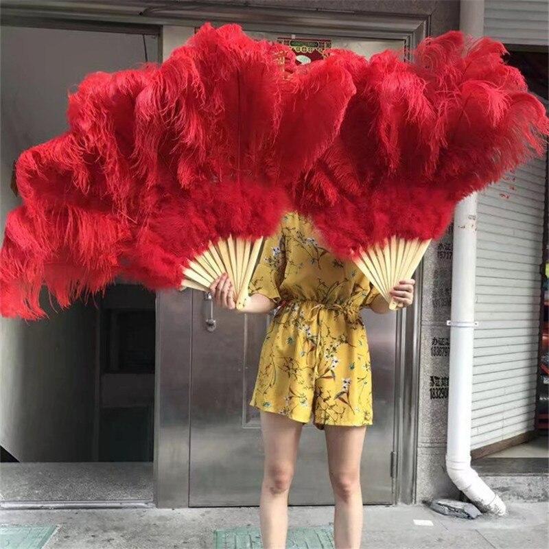 Nouvelle annonce! Haute qualité rouge grand ventilateur de plume d'autruche décore fête d'halloween pour les danseurs du ventre bricolage 12 barres de ventilateur de plume