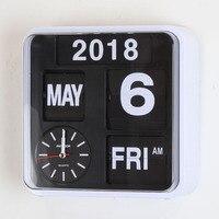 Auto Calendar Flip Clock Living Room Decoration Retro Digital Flip Clock Page Creative Luxury Wall Watch Home Decor 9 inch