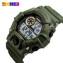 SKMEI zegarek sportowy do użytku na zewnątrz mężczyźni budzik 5Bar wodoodporne zegarki wojskowe wyświetlacz LED Shock cyfrowy zegarek reloj hombre 1019