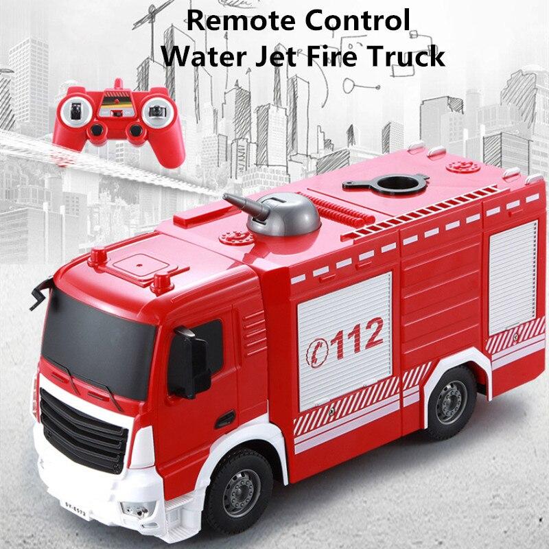 Camion de pompier à Jet d'eau télécommandé 1:26 simulation à l'échelle camion de pompier une clé de pulvérisation d'eau usb recharge cool lumières enfants meilleur cadeau
