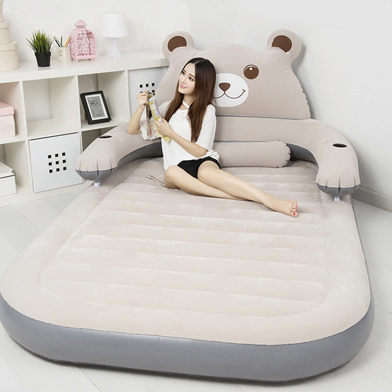 Air Sofa Decathlon: Folding Cartoon Bed Inflatable Soft Bed With Backrest