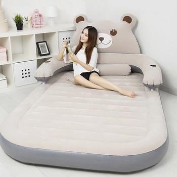 Składane łóżko Cartoon nadmuchiwane miękkie łóżko z oparciem Totoro łóżko Beanbag Cama materace meble do sypialni darmowa wysyłka tanie i dobre opinie Domu łóżko Meble do domu Bedroom Furniture China Cartoon Bed 150CM*230CM*23CM Flocking Folding bear Rectangle bed Nowoczesne