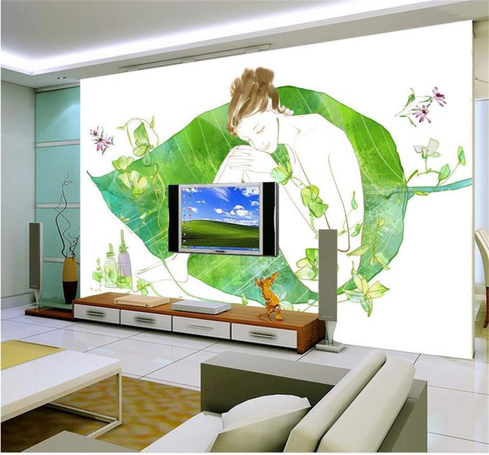 Custom 3d photo wallpaper livingroom mural Sleeping beauty big leaf Art Painting TV background non-woven photo wallpaper mural