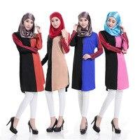 The New Sun Hemp Short Sleeved Dress Dress Dress Of Hui Muslim Hit Color Mosaic