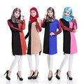 Nova vestuário Islâmico Islamnic crotalária manga curta vestido robes abaya paquistão roupas femininas moda contrato cor mosaico