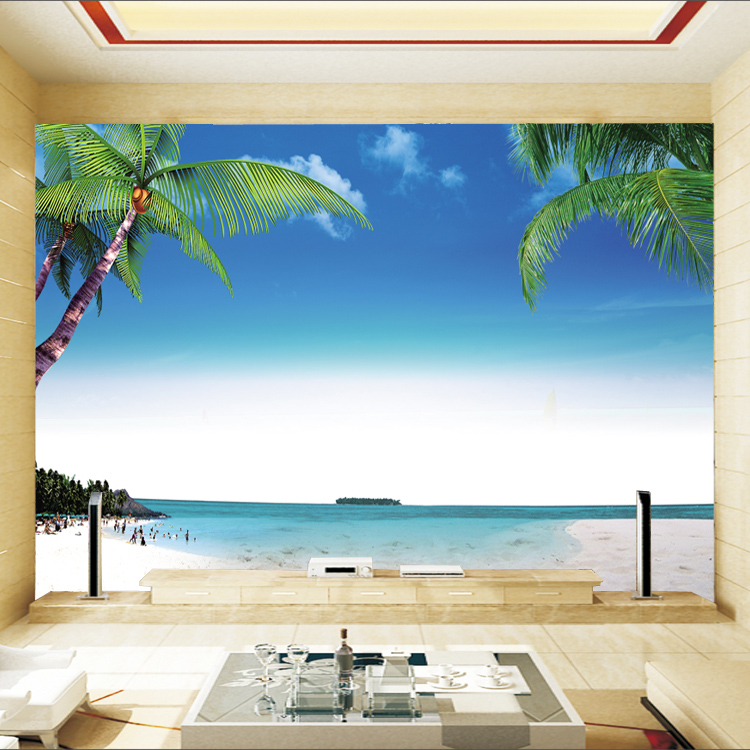 Aegean Beach Palm Wall Paper Fototapete 3d Duvar Kaplama Mural ...