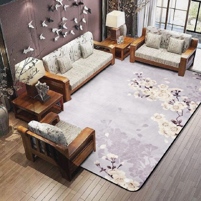 US $39.55 14% OFF|3D Plum Flower Carpet for Parlor Crane Printed Living  Room Area Rugs Skid Resistance Chinese Style Maple Floor Rugs for  Bedroom-in ...