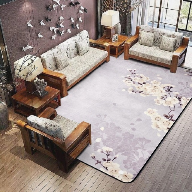 Plum Flower Carpet For Parlor Crane Printed Living Room Area Rugs Skid Resistance Chinese Style