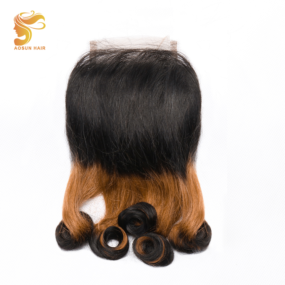 AOSUN HAIR 1Pcs Brazilian Human Hair Bouncy Curly 3 Tone Fumi Double Drawn Swiss Lace Closure