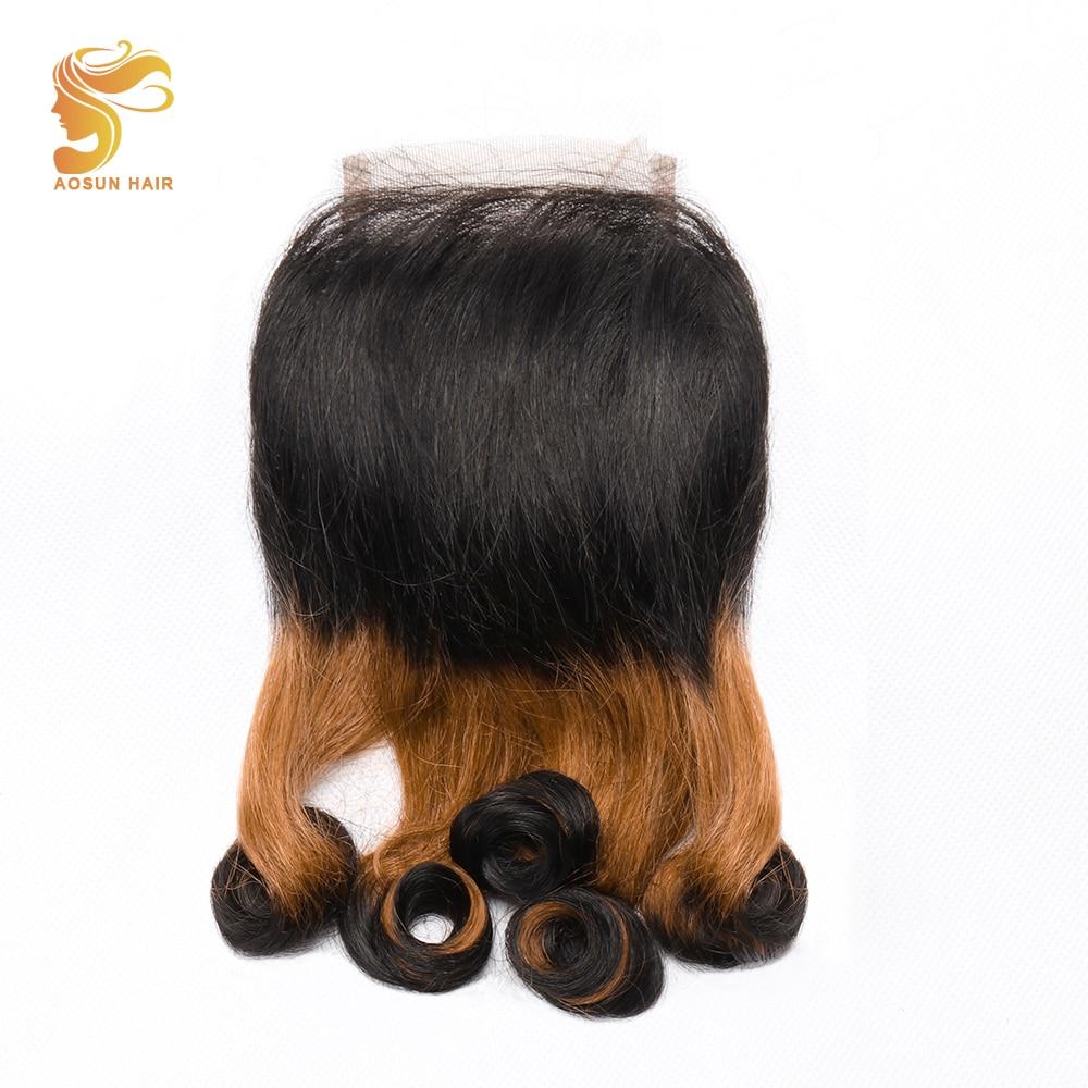 AOSUN HAIR 1Pcs Brazilian Human Hair Bouncy Curly 3 Tone Fumi Double Drawn Swiss Lace Closure