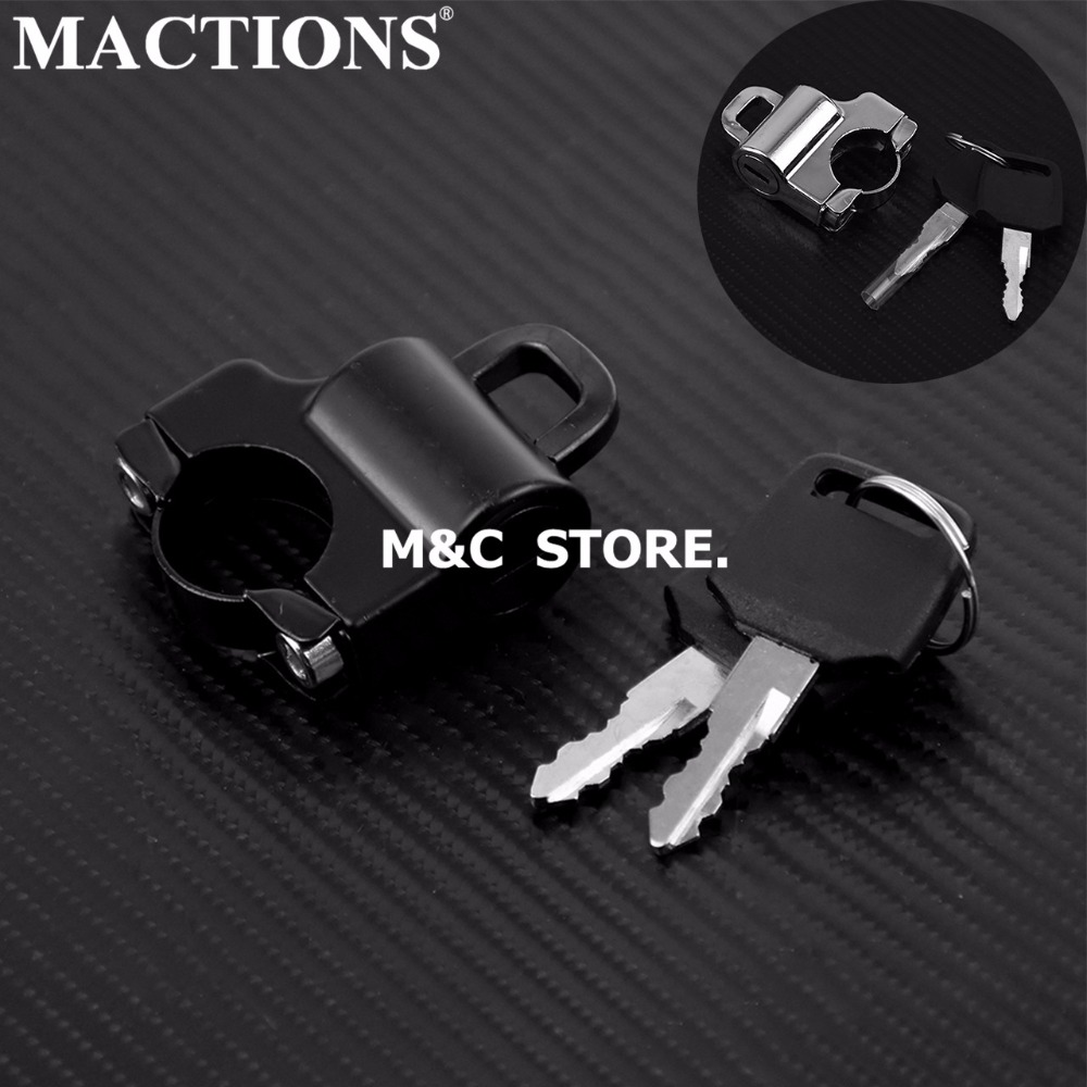 Universal Motorcycle Parts Black/Chrome Helmet Lock Alloy Set For 7/8'' 22mm Bar Sports Street Bike
