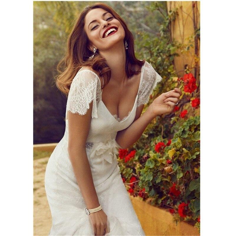 2019 A-line Beach Wedding Dresses Sexy Deep V-neck Lace Bride Dress Princesa Vestido De Novia Robe De Mariage