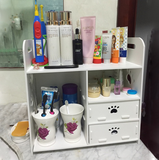 Creative DIY Desktop Cosmetics Storage Rack Box Bathroom Dresser Wood Sundries Shelf Small Cabinet Multiple