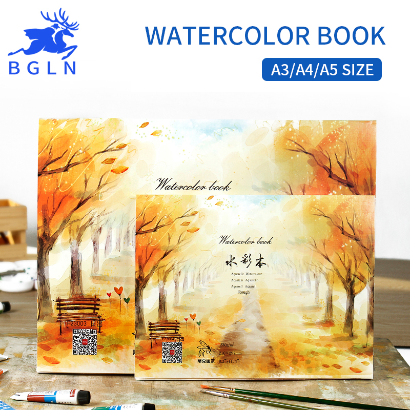 Bgln A3/A4/A5 tamaño 230g/m2 profesional de papel de acuarela de 20 hojas pintado a mano acuarela libro oficina de dibujo en la escuela suministros