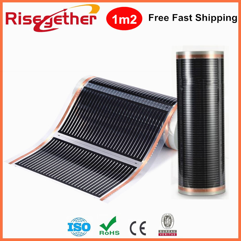 Free Shipping 230V 220W/m2 Heating Floor Film Test Sample 1m2 Carbon Infrared Under Floor System Heating Film free to norway 50m2 ptc carbon heating film 220v 110w best for under floor heating systems self regulating far infrared film