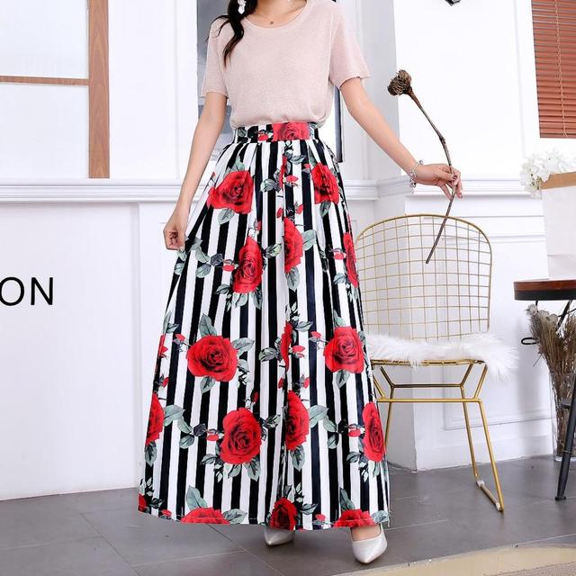 Plus size Maxi Skirt Summer Fashion Vintage High Street A-line High Waist Floral Polka Dot Long Skirts for Women 2020 Jupe Longa 20