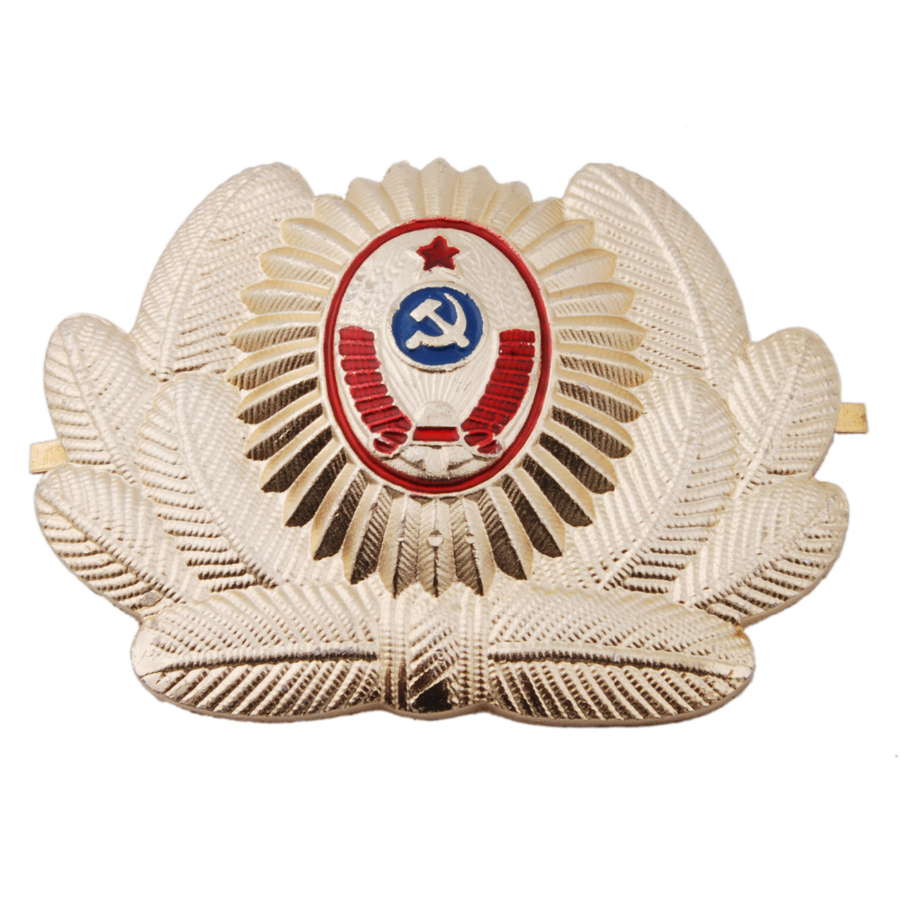 RUSSIAN SOVIET OFFICER POLICE USSR METAL CAP HAT BADGE COCKADE - 36278
