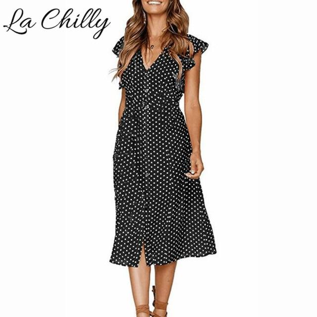 2018 Summer New Fashion Women Plus Size Lovely Dresses Hot Dot