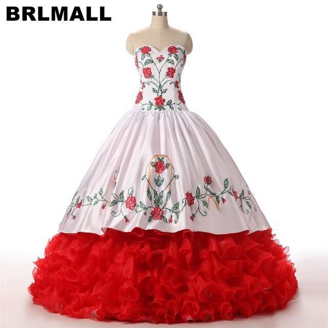 13c163d206 BRLMALL rojo bordado Quinceañera vestidos vestido de fiesta Sweetheart  Backless vestidos de 15 anos con cordones