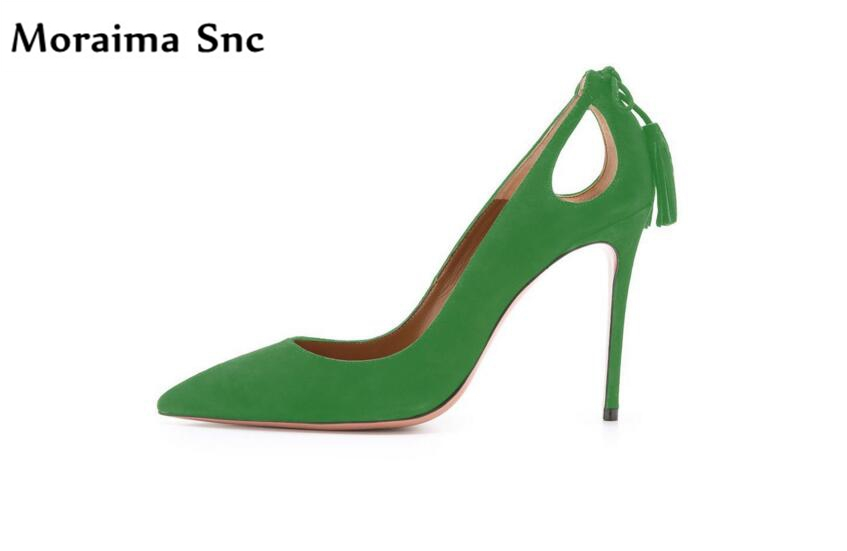 Moraima Snc hot selling chic ladies pumps cut-out Fringe thin high heel pointed toe vintage suede shallow slip-on casual shoes moraima snc chic women winter platform pointed toe mid calf boots solid black lace up fringe vintage suede high heel